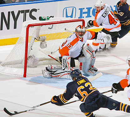 Brian Boucher gets ready to stop a shot by Buffalo's Tyler Ennis, one of his 24 saves. (Getty Images)