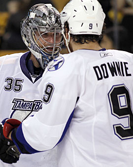 Lightning players understand Dwayne Roloson is instrumental to having success in the playoffs. (US Presswire)