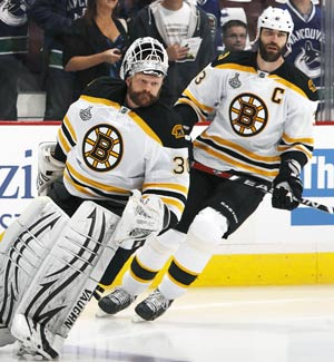 Tim Thomas and Zdeno Chara are looking at a hole they have dug out of before. (Getty Images)
