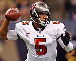 Josh Freeman throws 25 touchdowns against six interceptions last season and hardly anyone notices. (Getty Images)