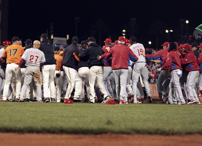 After Shane Victorino gets hit in the back by a pitch, both benches clear for some extracurricular activity.  (Getty Images)