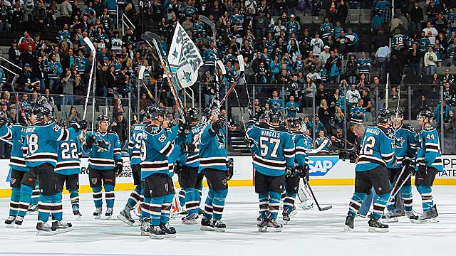 The No. 1 Sharks salute their fans -- and vice versa -- on their opening night. (Getty Images)