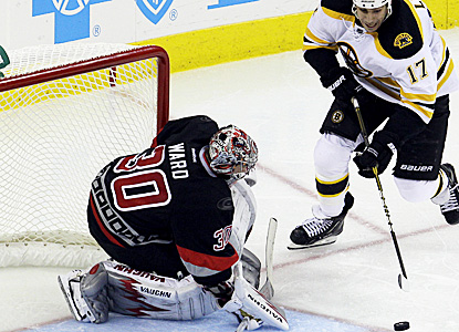 Cam Ward defends the net for the Hurricanes in a 3-2 win against the Bruins.  Ward sends back 26 shots on the night. (AP)