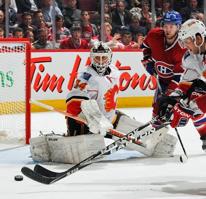 Goalie Miikka Kiprusoff stops 35 shots in Montreal on his way to a franchise-record 263rd victory.  (Getty Images)
