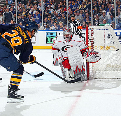 Goalie Cam Ward makes one of his 39 stops as the Hurricanes get the win in Buffalo's home opener. (Getty Images)
