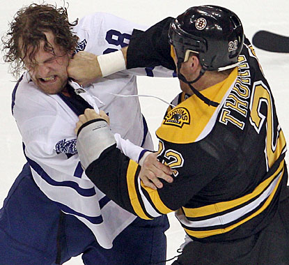 In a game with plenty of goals, there is also a first-period fight between Colton Orr and Shawn Thornton. (Getty Images)