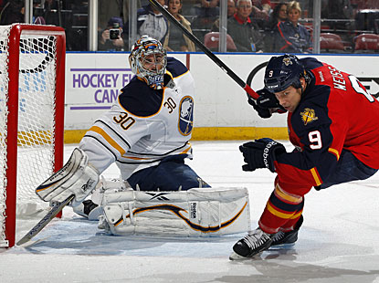 After Thomas Vanek scores twice, Ryan Miller makes sure to keep a clean sheet for the first time this young season. (Getty Images)