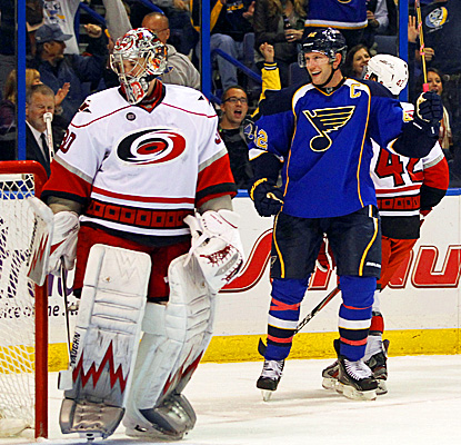 Blues' David Backes (right) celebrates after scoring past Hurricanes' goalie Cam Ward. (AP)