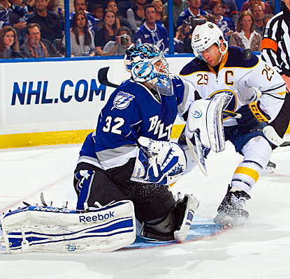 Tampa Bay's Mathieu Garon makes 21 saves to earn his 20th NHL shutout, his first in 34 games. (Getty Images)