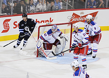 Goalie Martin Biron sends away 27 shots starting in place of Henrik Lundqvist. (Getty Images)