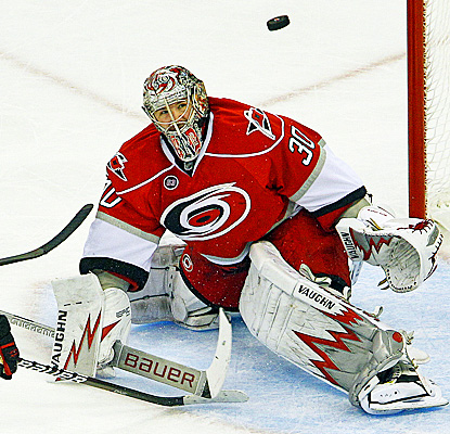 Cam Ward collects his first shutout since he kept the Red Wings off the board last April. (AP)