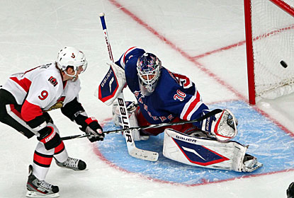 Milan Michalek beats Henrik Lundqvist to score the only goal in the shootout and give his team the victory in the end. (US Presswire)