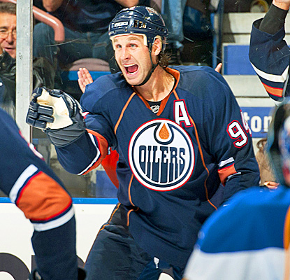 Ryan Smyth celebrates his second goal -- his fifth of the season-- giving Edmonton the edge on St. Louis. (Getty Images)