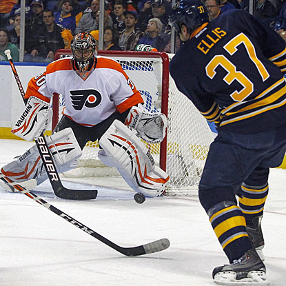 Ilya Bryzgalov has been somewhat inconsistent for the Flyers, but he stops 29 shots to beat Buffalo on this night. (AP)