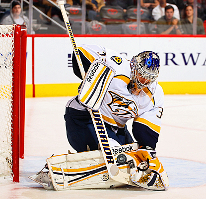 Nashville's Pekka Rinne stops one of the 35 shots on goal against Phoenix. (Getty Images)