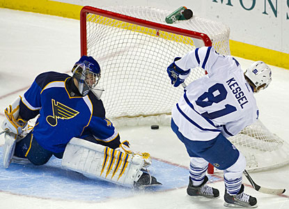 Phil Kessel makes sure Toronto gets both points when he beats Jaroslav Halak in the shootout. (US Presswire)