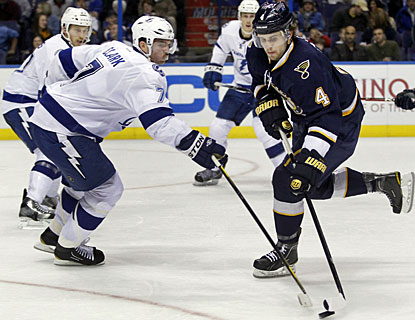 Kris Russell, who was acquired from the Blue Jackets on Friday, shows his skills for the Blues right away. (AP)