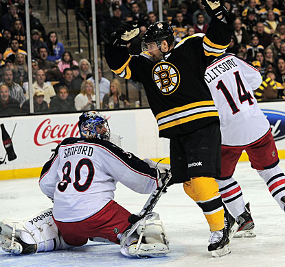 Bruins' Rich Peverley celebrates Adam McQuaid's (not pictured) first goal of the season. (US Presswire)