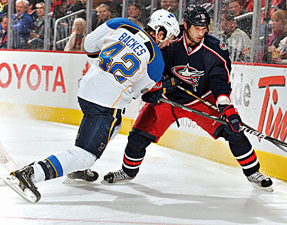 The Blues' David Backes scores in the third to push St. Louis past the Columbus Blue Jackets. (Getty Images)