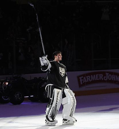 Jonathan Quick is the star of this night, blanking the Kings for his league-best fourth shutout. (Getty Images)
