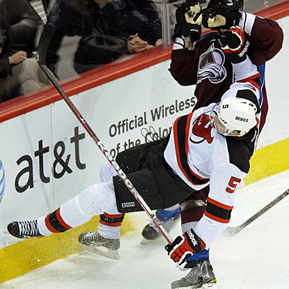 There are plenty of goals for Colorado and also a good body check by Ryan O'Byrne on New Jersey's Adam Larsson. (AP)