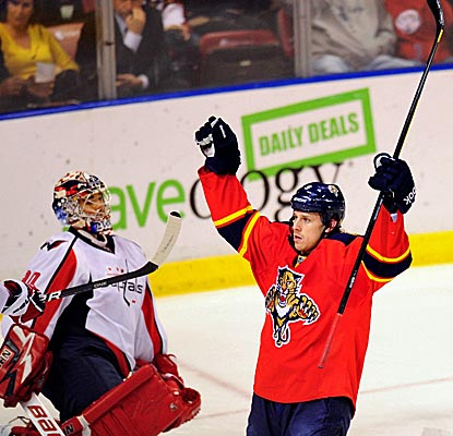 The Panthers' Stephen Weiss celebrates one of his two goals in a win over the Caps. (US Presswire)