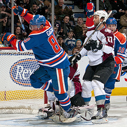 Sam Gagner muscles his way for one of his two goals in Edmonton's win over Colorado.  (Getty Images)