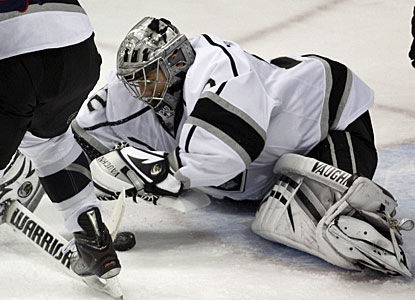 Jonathan Quick stops 24 shots to lead the Kings to their first win when trailing after two periods. (Getty Images)