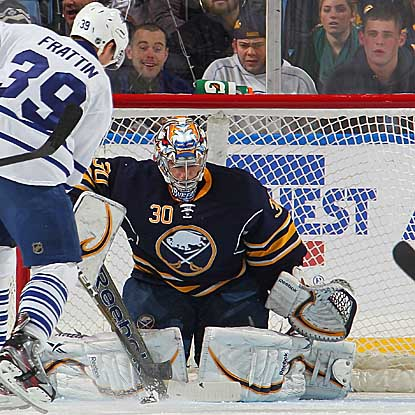 Ryan Miller makes 29 saves and fights off a late Maple Leafs' rally to help secure the win for the Sabres. (Getty Images)