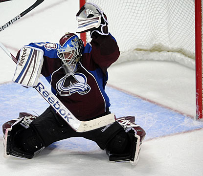 Jean-Sebastien Giguere makes 37 saves to record his 238th career win and move up to 48th on all-time win list. (US Presswire)