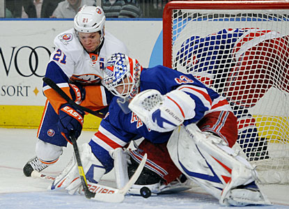 Martin Biron makes 24 saves and also assists on Brandon Dubinsky's goal. Biron has two assists this season. (AP)