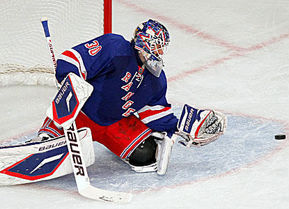 Goalie Henrik Lundqvist stops 28 shots to record the shutout for the Rangers. (US Presswire)