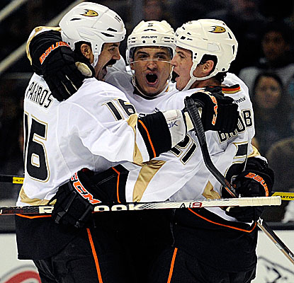 Luca Sbisa (middle) scores one of Anaheim's three goals in its victory against San Jose. (Getty Images)