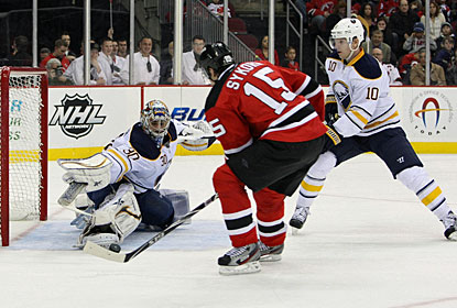 Petr Sykora gets the puck past Ryan Miller two times, taking his season total to 10 goals. (US Presswire)