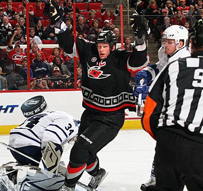 Eric Staal takes a team-high five shots and scores two goals, including the overtime winner. (Getty Images)