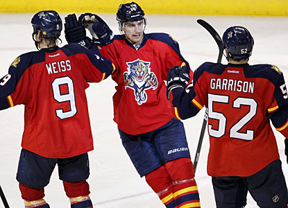 Tomas Fleischmann celebrates his empty-net goal which in the end proves to be the winning goal. (AP)
