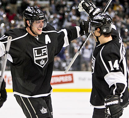 Anze Kopitar shows some relief when he scores and ends a career-worst 17-game goalless drought. (AP)