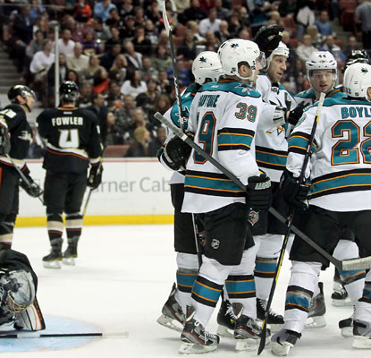 The Sharks celebrate a goal Benn Ferriero in the second period as they solve the pesky Ducks at last.  (Getty Images)