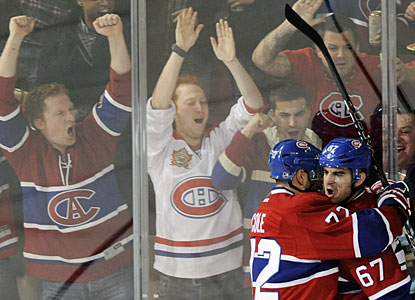 Max Pacioretty (67) gives Montreal fans good reason to celebrate for a change in consecutive games. (AP)