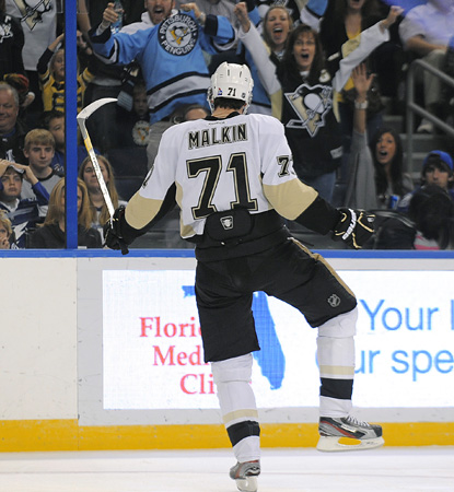 Evgeni Malkin enjoys a monster game against the Lightning -- three goals and two assists. (Getty Images)