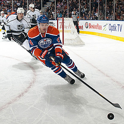 Taylor Hall scores at 3:06 of overtime to defeat the Kings and end the Oilers' five-game losing streak.  (Getty Images)