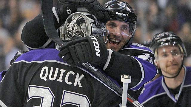 Jarret Stoll and the Kings find themselves congratulating Jonathan Quick often. (Getty Images)