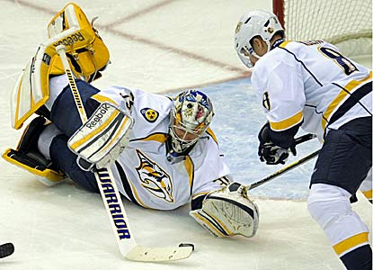 Pekka Rinne again stands out for the Predators, locking down his 24th victory of the season.  (AP)