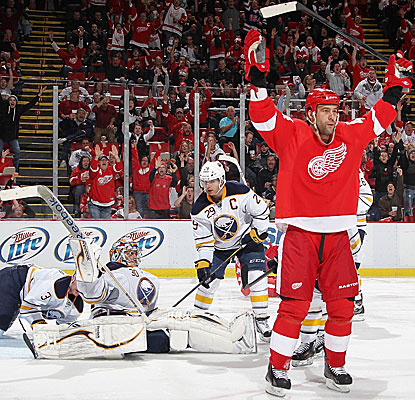 Todd Bertuzzi is one of five Red Wings to score a goal in their win against the Sabres. (AP)
