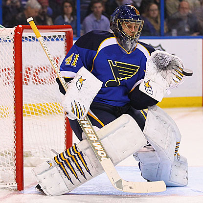 Jaroslav Halak earns the shutout for the Blues, who improve to 6-0-1 in 2012 and are tied for most points in the league.  (Getty Images)