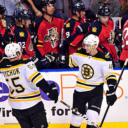 The Bruins' David Krejci (right) celebrates after scoring the winning overtime shootout goal. (US Presswire)