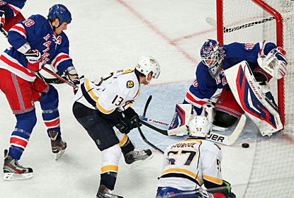 Henrik Lundqvist holds his ground against a streaking Predators team and earns his fourth shutout this season. (US Presswire)