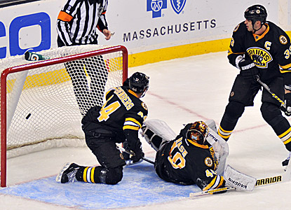 Boston's Tuukka Rask (40) watches as Marian Gaborik's shot goes by in overtime for a loss to the Rangers. (Getty Images)