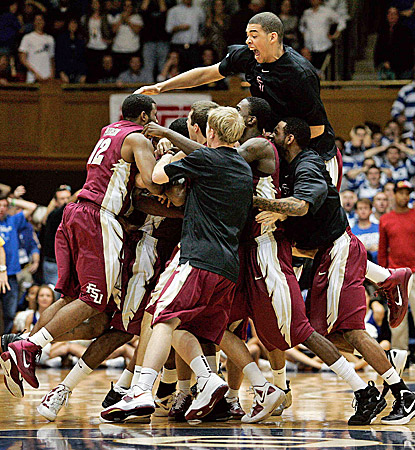 Florida State players celebrate at midcourt after beating Duke, the second top-five team they've beaten in as many weeks. (US Presswire)