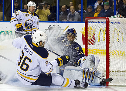 Jaroslav Halak turns aside Patrick Kaleta, stops 19 shots and improves to 11-0-3 in his past 14 starts. (US Presswire)